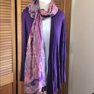 Pashmina purple paisley long scarf